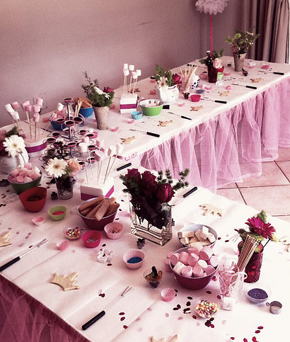 Princess Chocolate Party - Table tutu can be rented from us!